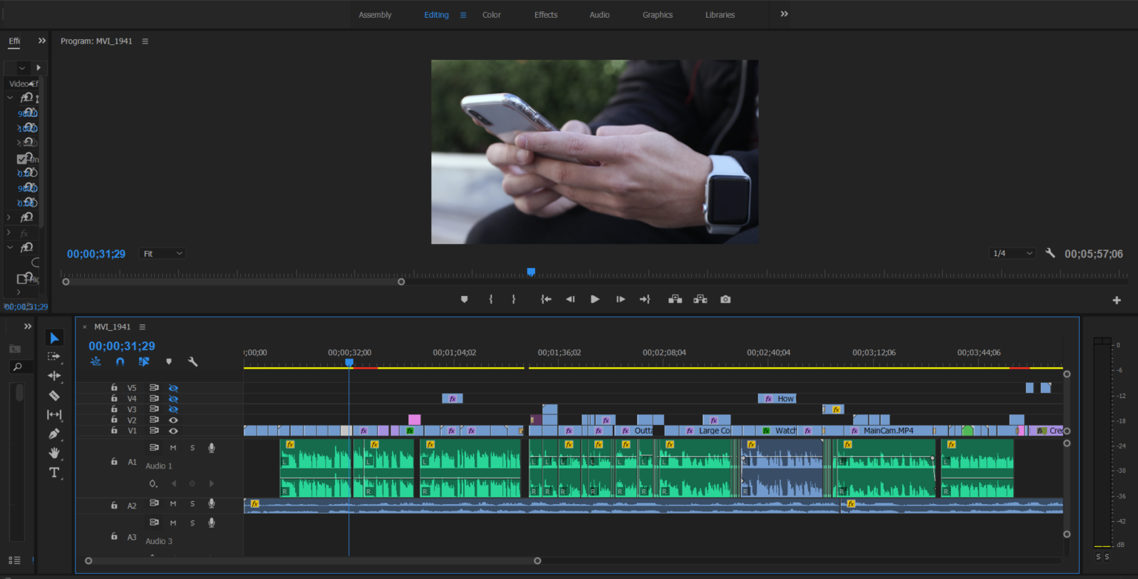 Screenshot of Adobe Premiere Pro workspace for the documentary.