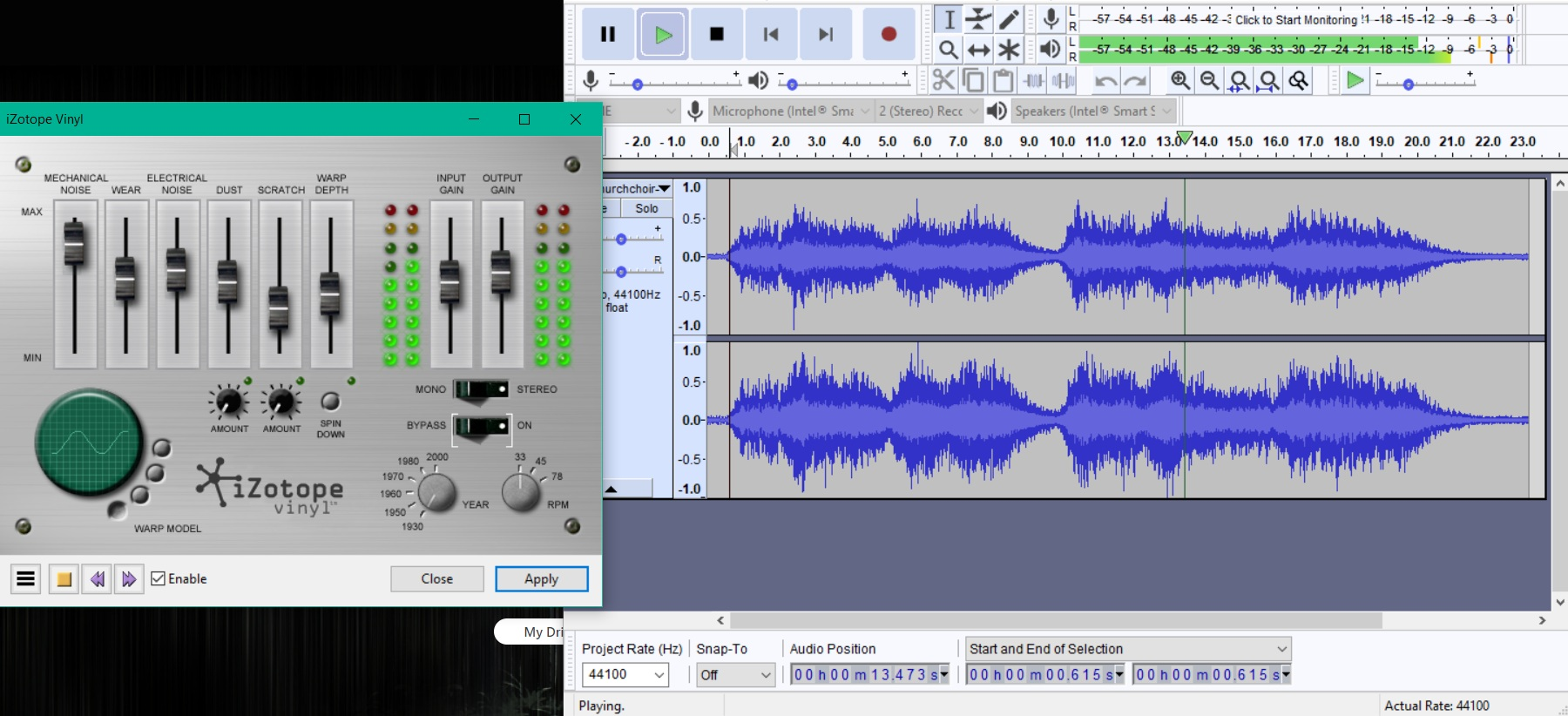 Workspace in Audacity for distortion of music to input into final edit of film clip.