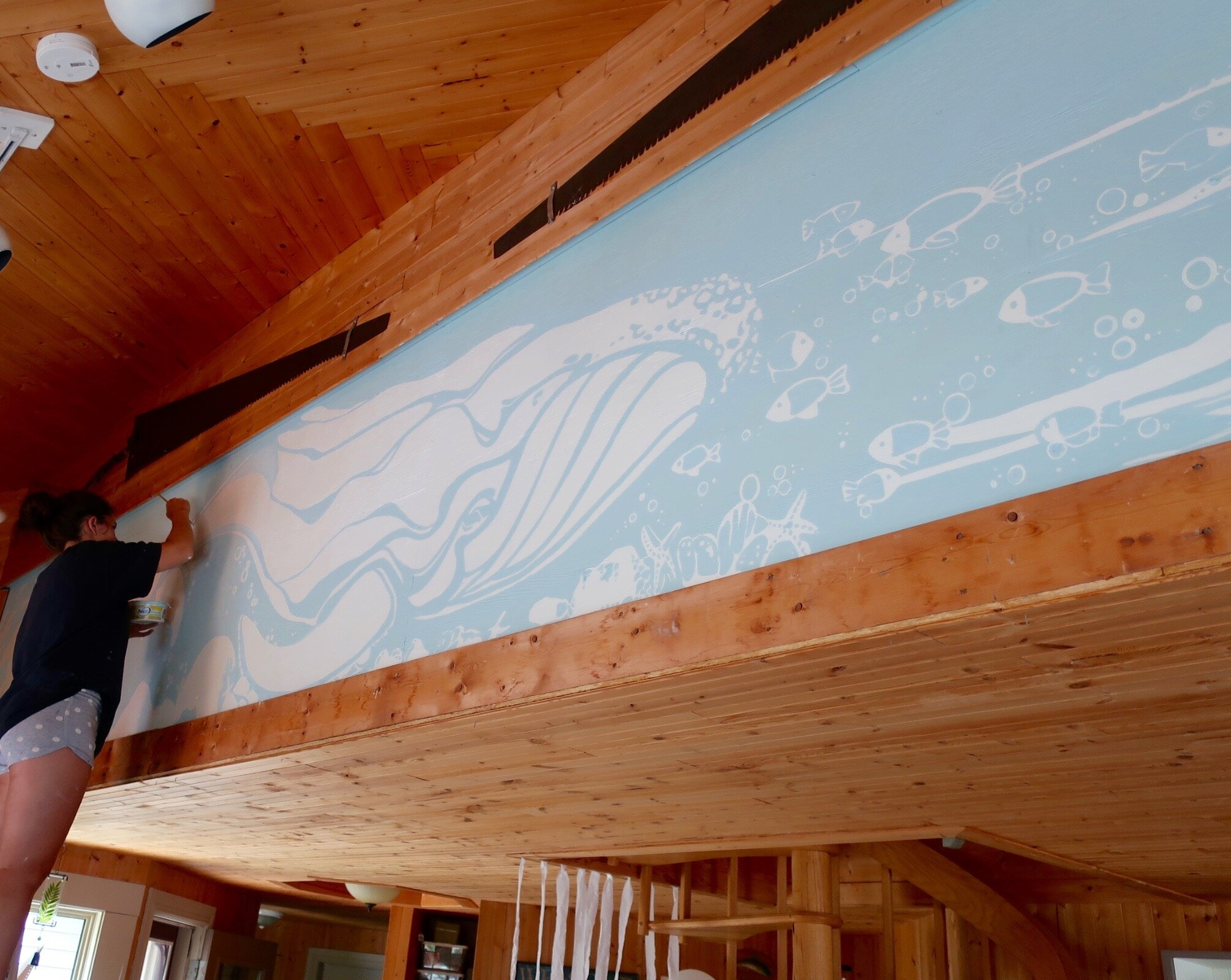 First layers of the mural. - At Nanny's cabin in Spread Eagle, NL.