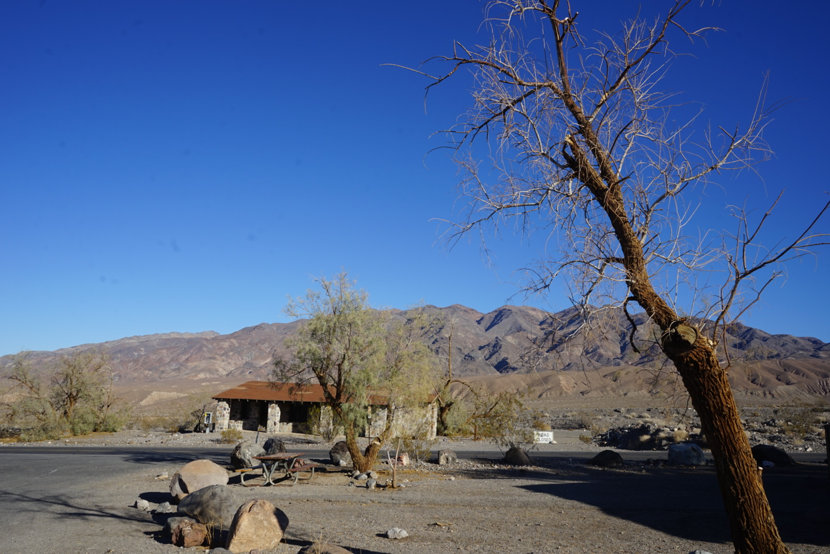 Restrooms are few and far between in Death Valley, everyone of them though we expected a cowboy and horse to arrive at any minute.