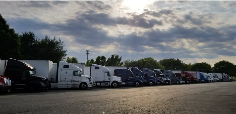 View of the truck parking area at Petro Truck Stop in Bordentown, New Jersey.