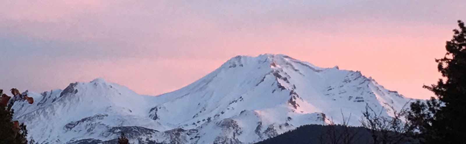 Sunset on Mt Shasta during a client retreat