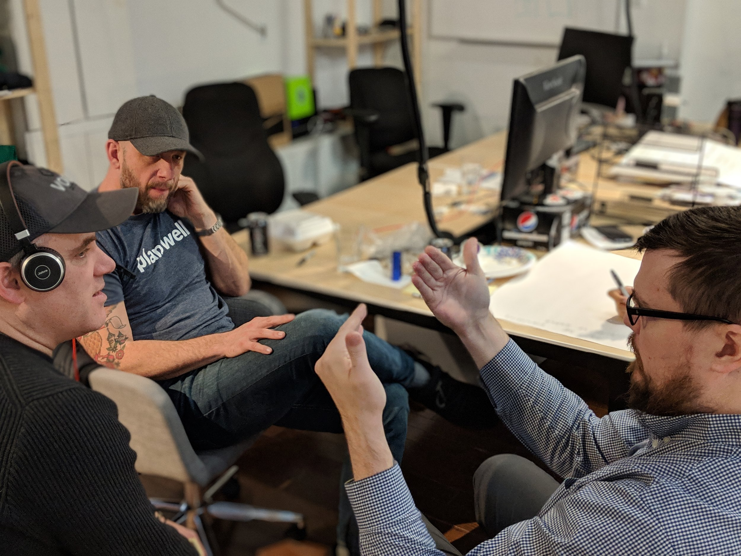 Planswell CMO Michael Wickware and team collaborate during an ideation session hosted by AccessAR.