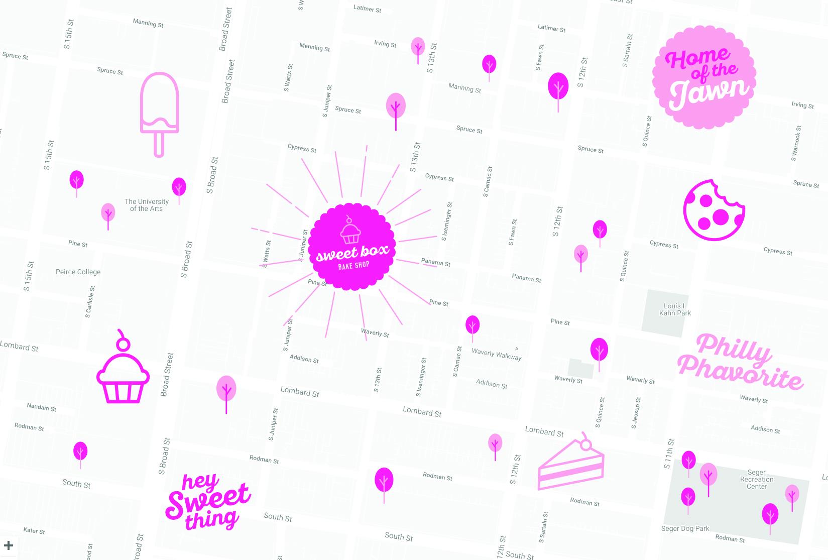 SweetBox Bakery Philadelphia Map