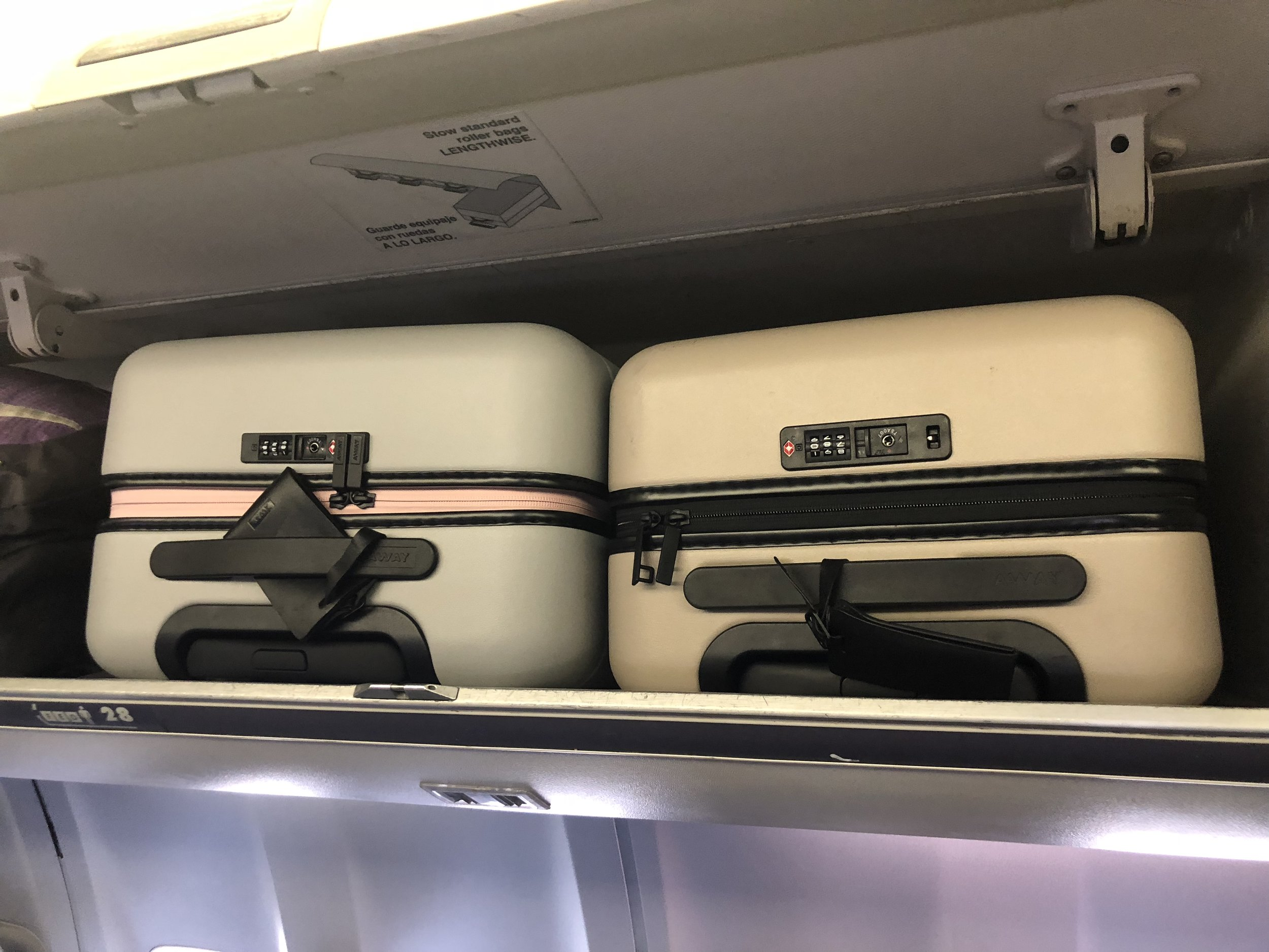 The larger carry on (left) and the carry-on (right).