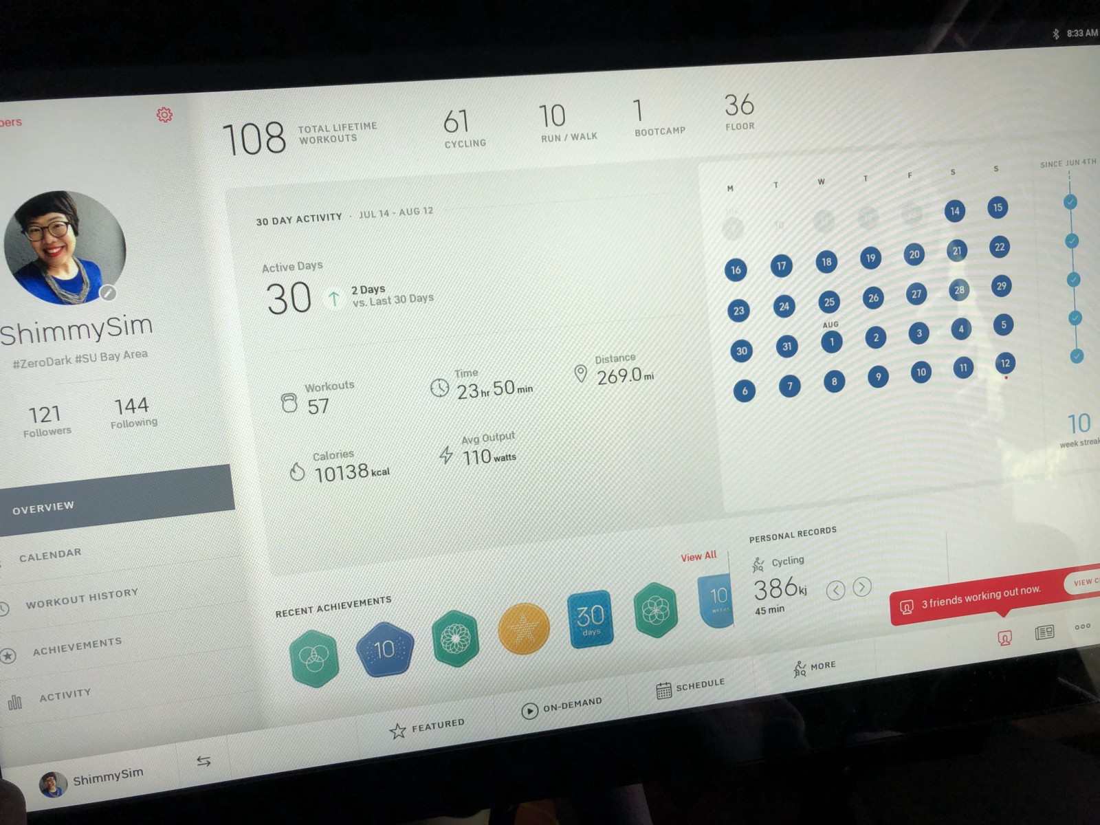 My personal dashboard on the peloton bike. The product team takes design very seriously.