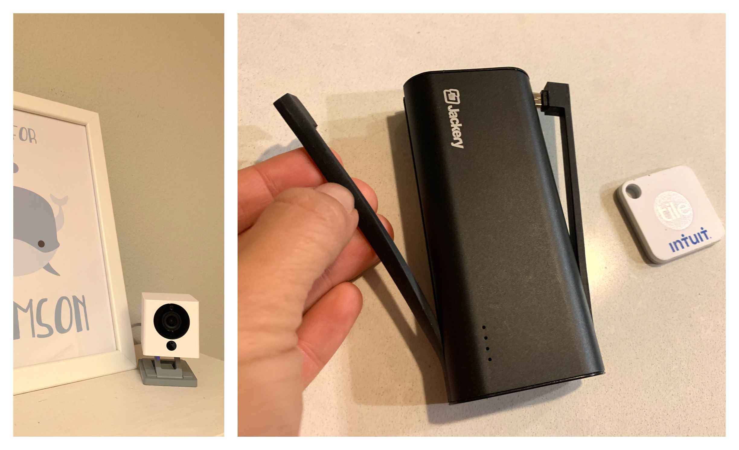 Left to Right: Wyzecam ($20), Jackery Bolt Power Bank ($40) and Tile Mate ($20)