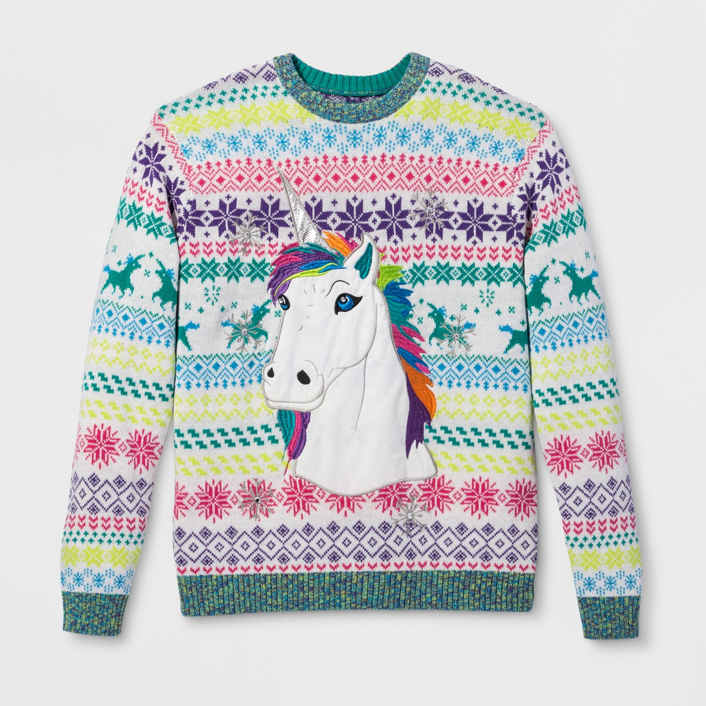 Men's Ugly Holiday Rainbow Unicorn - Unicorns are all the rage this season. This one tops the list for real ugly.