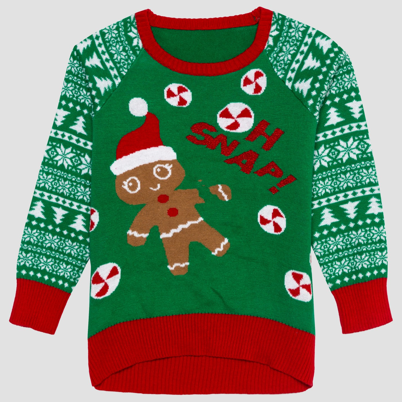 """Oh snap"" girls sweater - This is the updated gingerbread sweater for this year. It was a big hit last year! ($16.99)"