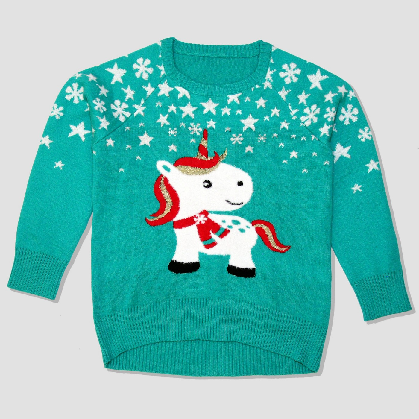 "Well worn unicorn girls sweater - This one is almost in the ""nice"" category. Not sure there's anything ugly about it! 😂"