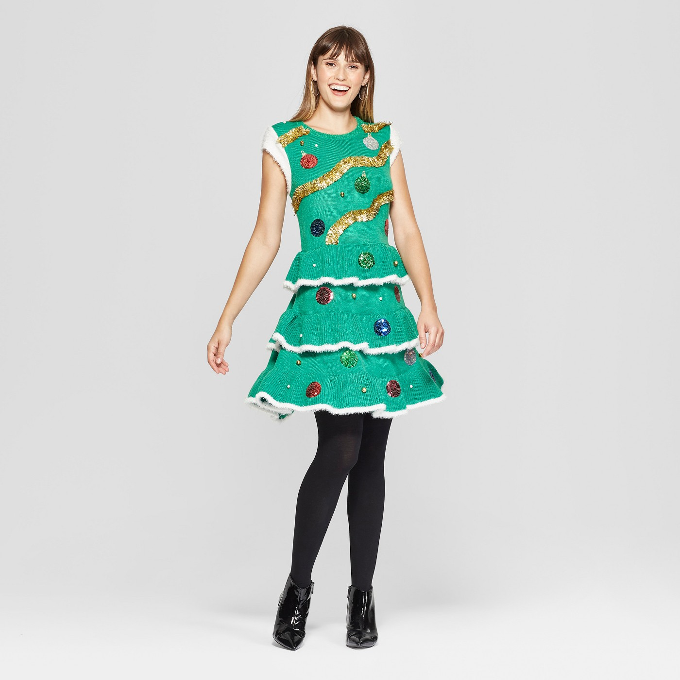 Women's Christmas Tree Dress - And if you want to go all out ugly… try this christmas tree sweater dress. ($39.99)