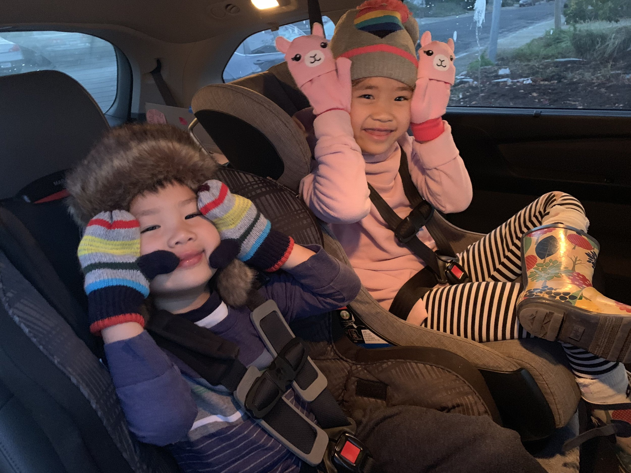 """Check the carseats! - It was actually this photo that made me realize that I maybe needed to adjust Emmy's carseat. (Turns out I didn't need to). Also double check that your child has met the 4yo/40lbs/40"""" requirement for boosters. Other common blindspot is that LATCH actually has a weight limit of 40 lbs. Switch over to seatbelt install if your child has reached that weight."""