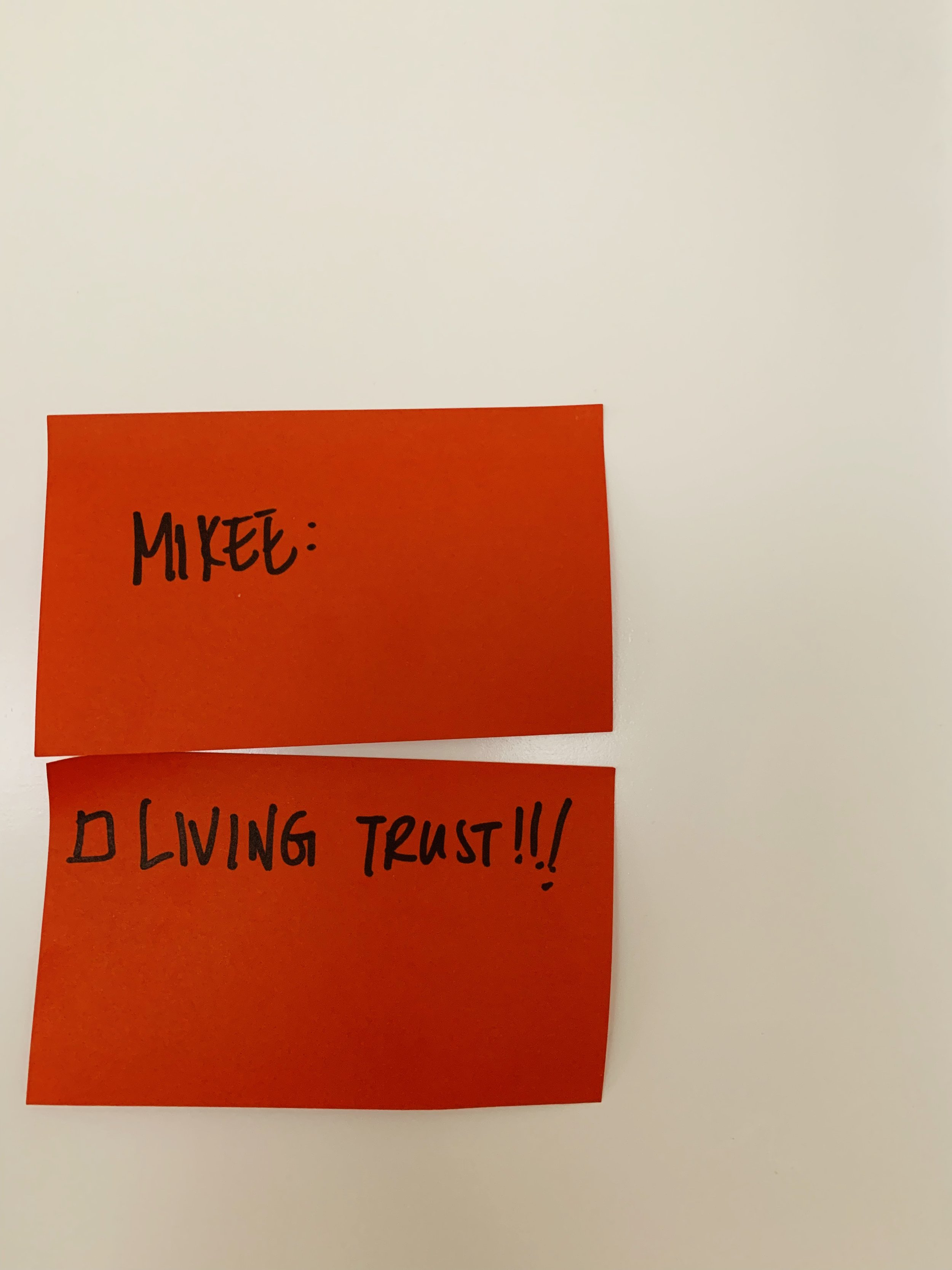 The scariest thing takes the longest time - Our living trust has been on our to-do list for 6 whole years. While the post-its have dried up and dropped off, it continues to plague my mind and heart. It's not an easy topic to discuss - Who should be our kids' parents if we die? Why? And are they onboard? You and your partner might actually have different perspectives on this. At the very least, start talking about it now.