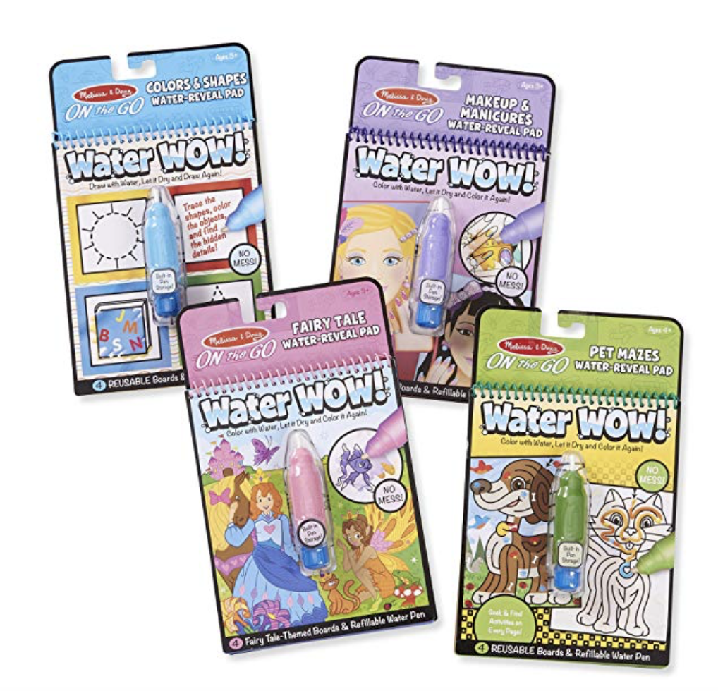 """Water Wow On-the-go - This is the """"occupations"""" set which is super cute. They of course have the usual selection of animals, vehicles, princesses, letters/alphabets etc. There are 6-packs for $25 and 4-packs for $15. My favorite is the bible stories release! We used these extensively for travel and road trips."""