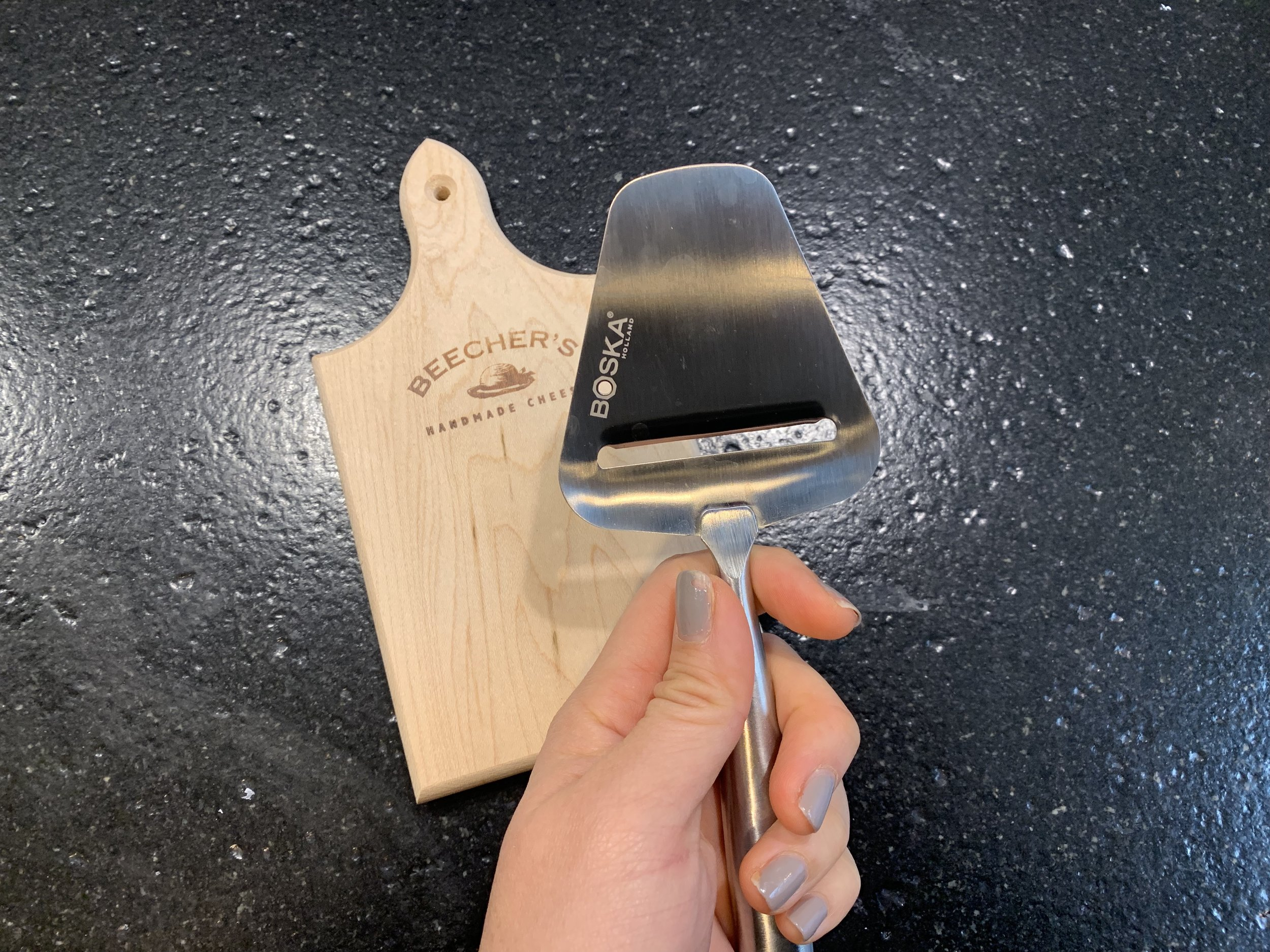 Gouda have this… - I have it on good authority that every Dutch kitchen has a Kaasschaaf (cheese slicer). It slices perfect slices of hard cheeses at consistent thickness to make for great serving. I got mine from Amazon, but made by a Ditch company - Boska. This will make a great gift for any cheese-loving family.