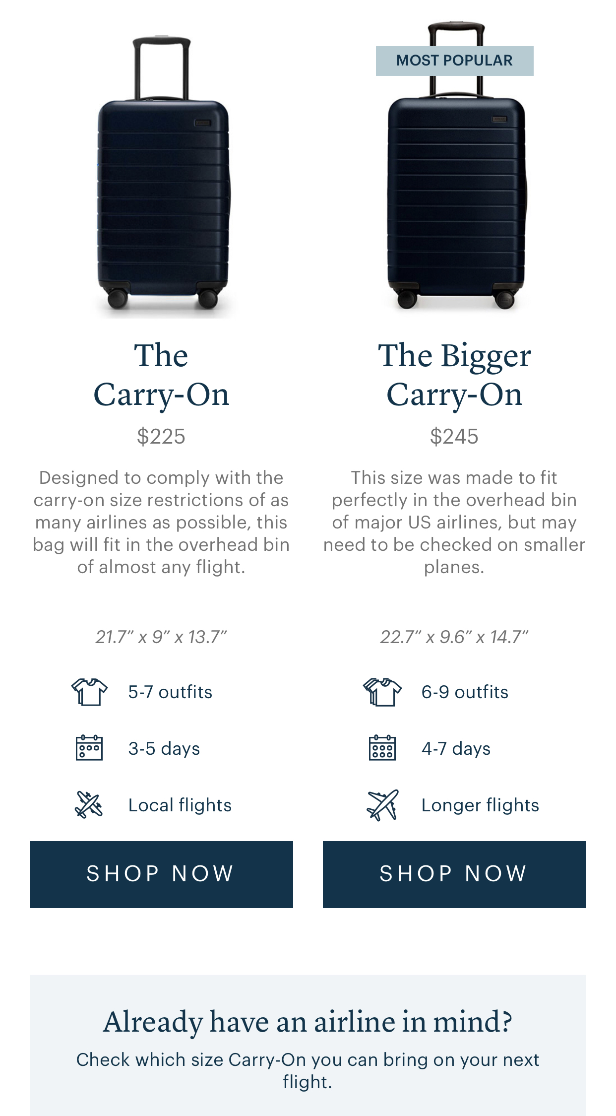 Differences between standard and bigger carry on