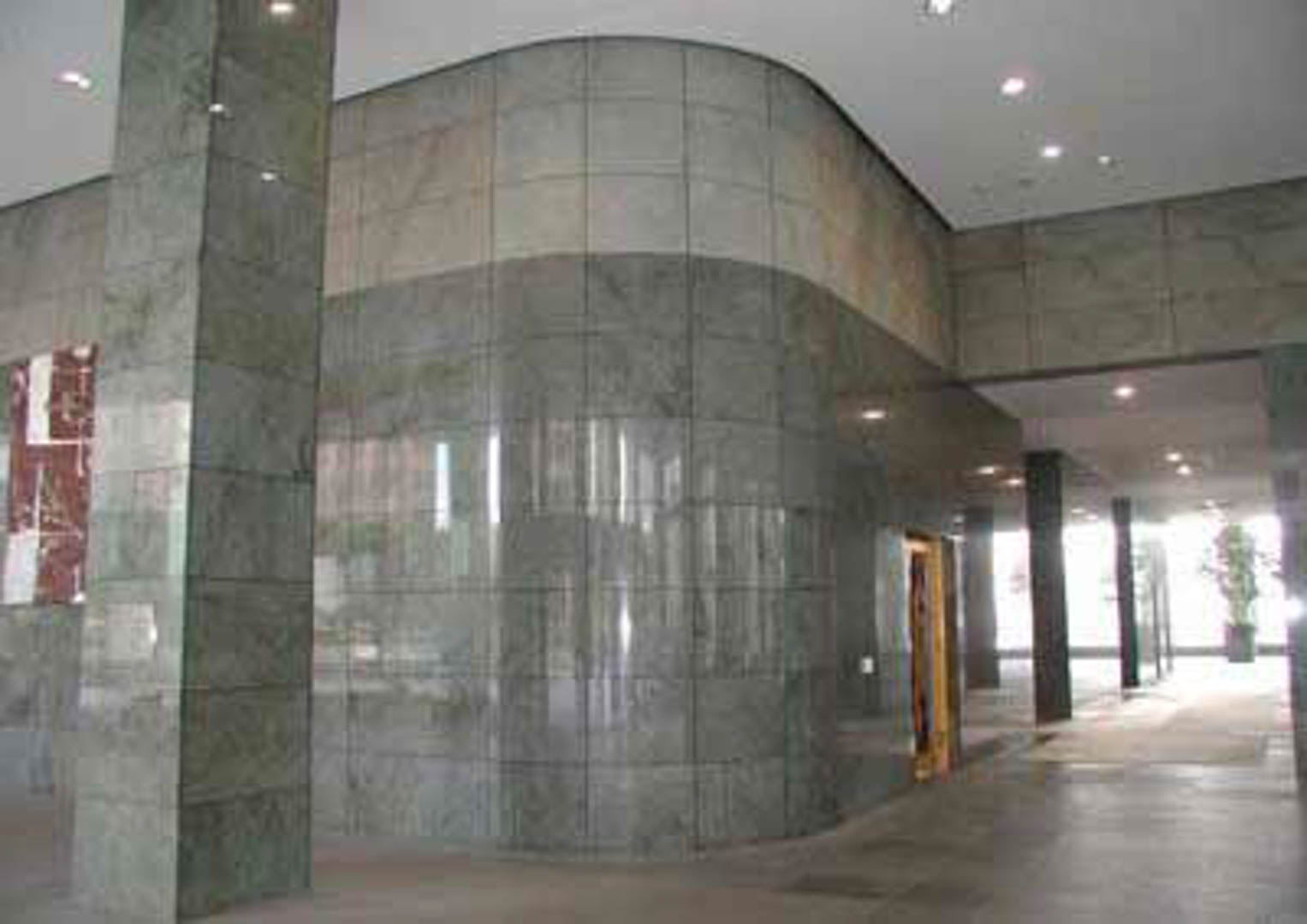 Project:  California Plaza 2    Location:  Los Angeles, California   Description:  Several interior lobby walls in this office building are clad with radius granite from Brazil.