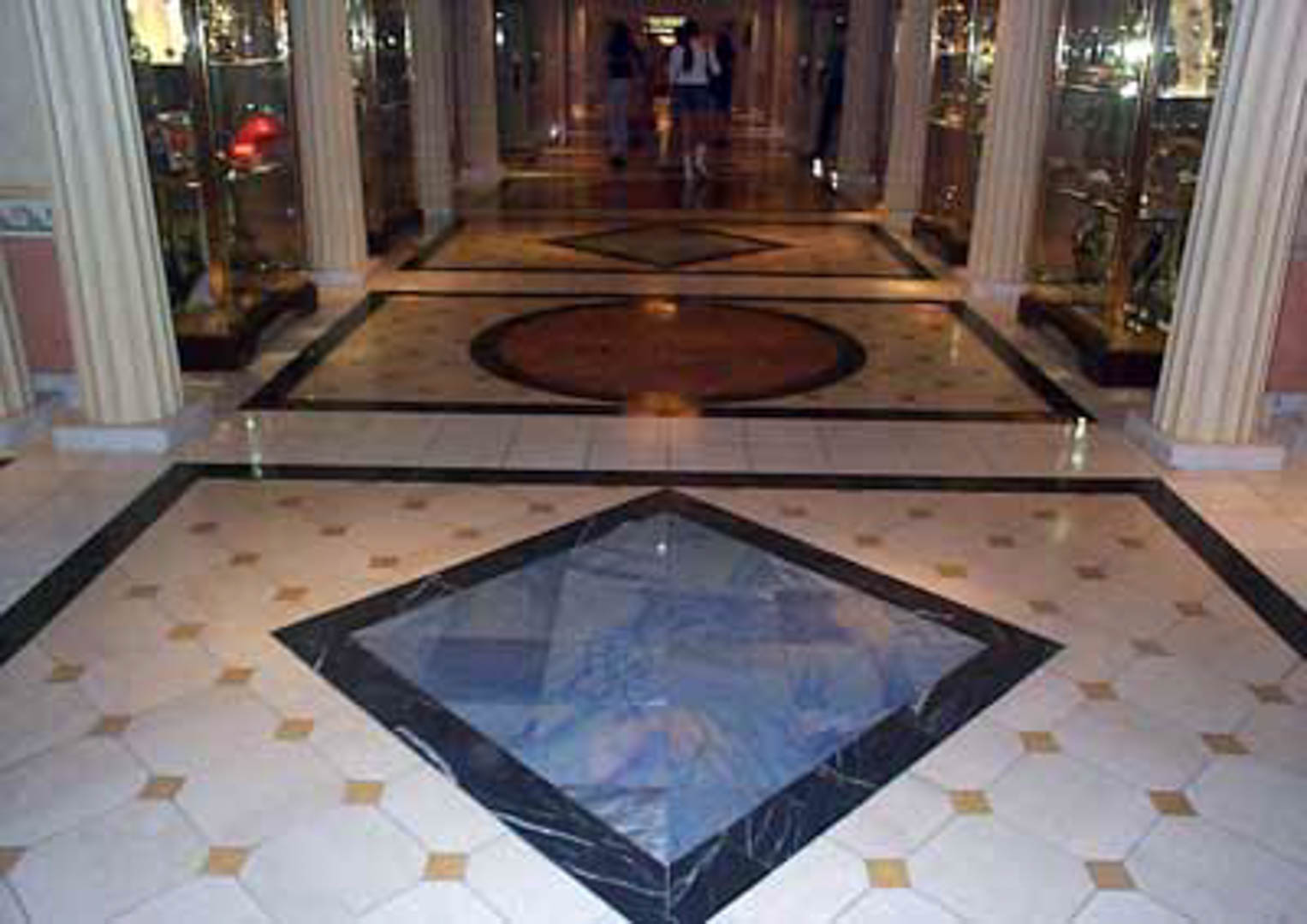 Project:  Caesars Palace Hotel   Location:  Las Vegas, Nevada   Description:  Interior Paving The Appian Way at Caesars Palace is one of the few places you will see the unique blue marble from Brazil. This selection of blue represents the finest available