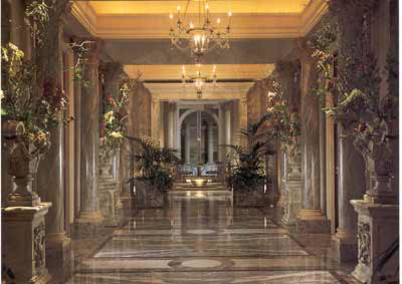 Project:   Caesars Palace Hotel   Location:  Las Vegas, Nevada   Description:  Interior Paving Only the very affluent get to see this corridor in one of the most luxurious suites in Las Vegas. Notice the use of water jet design and 'book matched' veining in these marble floors. Over 35 different stone types were imported and installed by Carrara on this project.