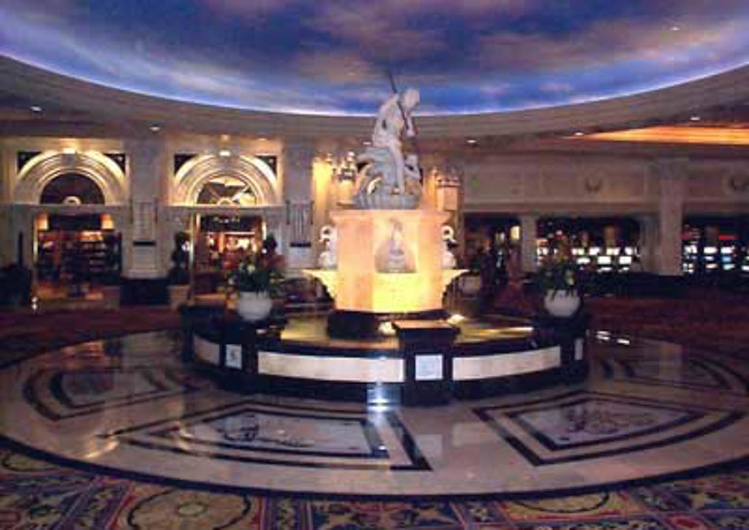 Project:  Caesars Palace Hotel   Location:  Las Vegas, Nevada   Description:  The center piece of 'The Court of Fountains' in Caesars Palace Hotel is a 20 foot diameter fountain made of Spanish marble and Egyptian limestone. Surrounding the fountain is decorative stone paving with waterjet brass inlays.