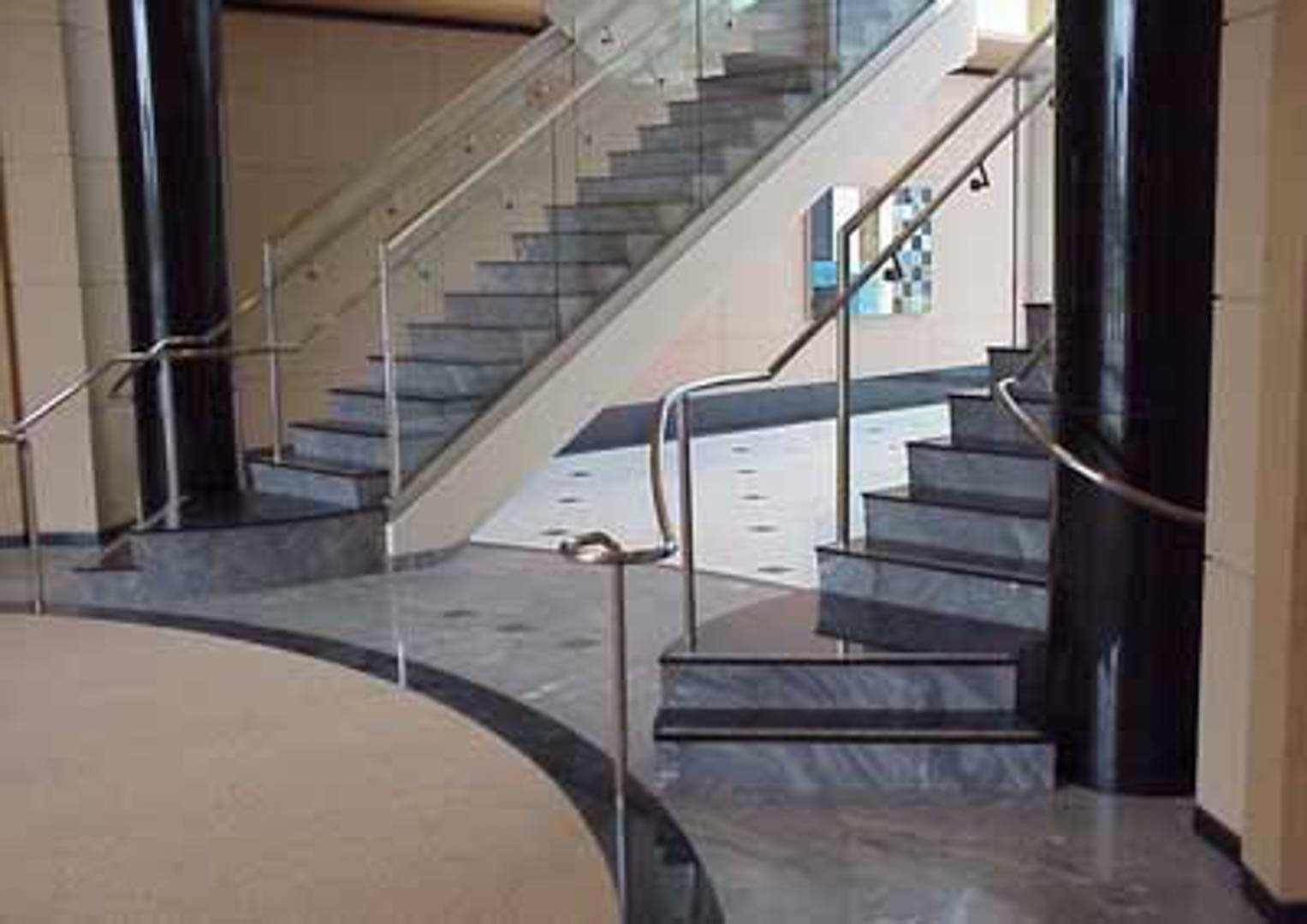 Project:  First and Montague Building   Location:  San Jose, California   Description:   Palisandro Blue marble stair treads with black granite risers are featured in this Silicone Valley office building.