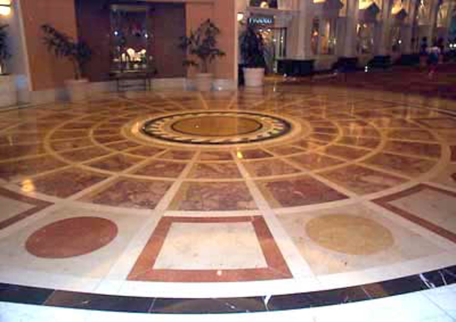 Project:  Caesars Palace Hotel   Location:  Las Vegas, Nevada   Description:  This 40-foot diameter marble waterjet rotunda leads to the ballroom level of this hotel. Marbles from Italy and Spain, and Limestone from Germany were used in this creation.