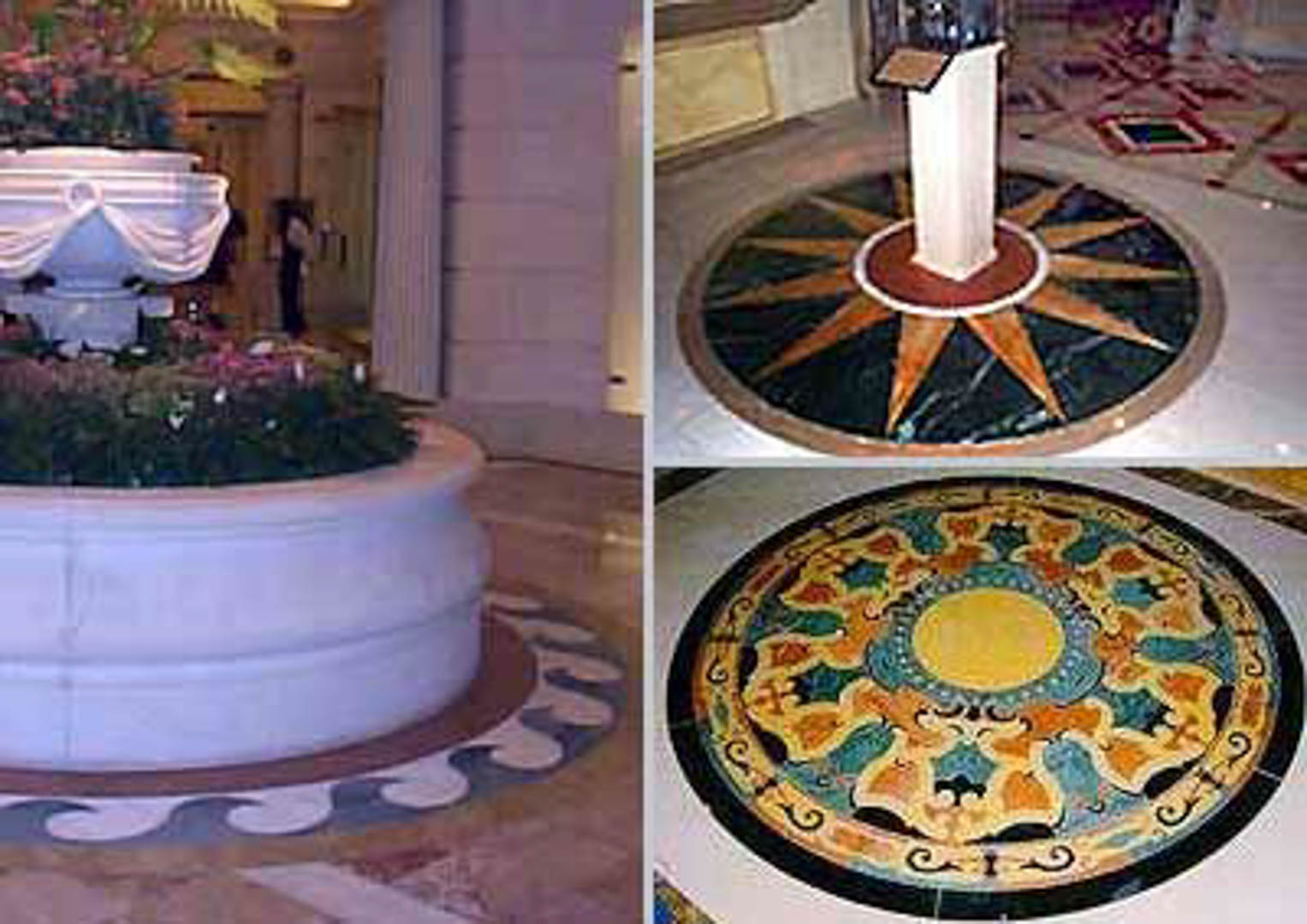 Project:  Caesars Palace Hotel   Location:  Las Vegas, Nevada   Description:  This image shows just a few elegant mosaic waterjets installed by Carrara at this prestigious hotel.
