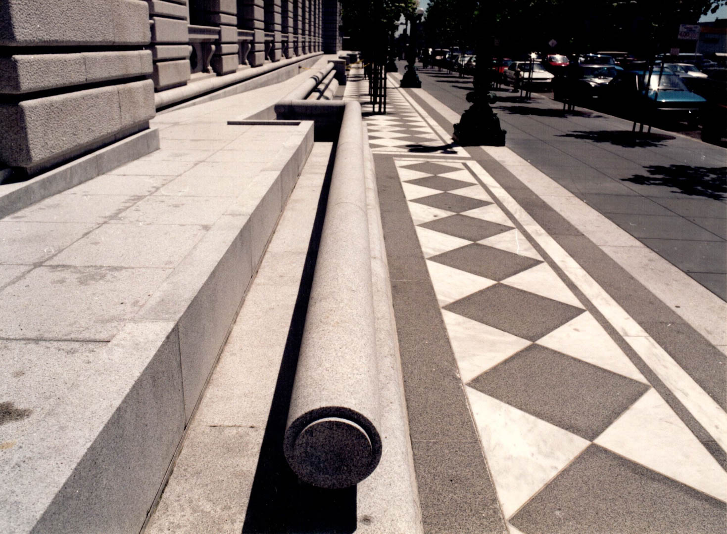 Project:  San Francisco Court of Appeals   Location:  San Francisco, California   Description:  This building required extensive reconfiguration of historical granite to including carving existing granite street curbs into the tubular accent stone you see here.