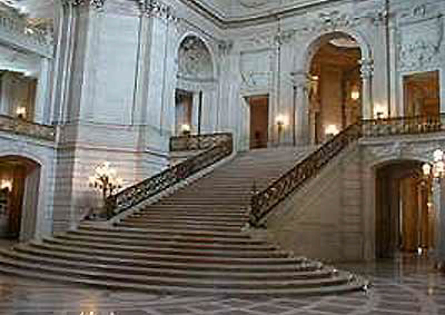 Project:  San Francisco City Hall   Location:  San Francisco, California   Description:  The interior work at the City Hall building involved removal and replacement of historical stone, redesign of rooms to meet ADA recommendations, and installation of new marble and tile. A proprietary micro-abrasive cleaning technique was also used as can be seen in the next two photos.