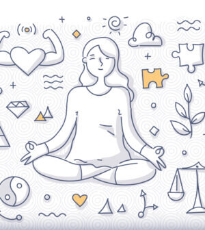 Mindfulness-Doodle-Concept.-Woman-meditates-relaxing-in-lotus-pose.-Self-awareness-emotional-balance-freedom-from-stress-300x336.jpg