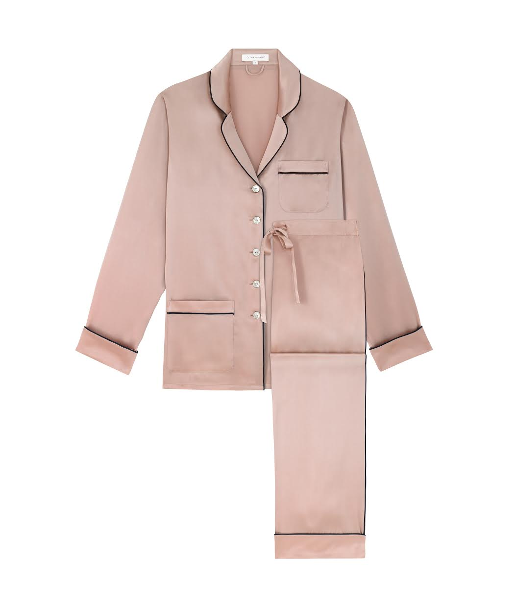 OLIVIA VON HALLE COCO OYSTER SILK PYJAMA, AVAILABLE AT OLIVIA VON HALLE
