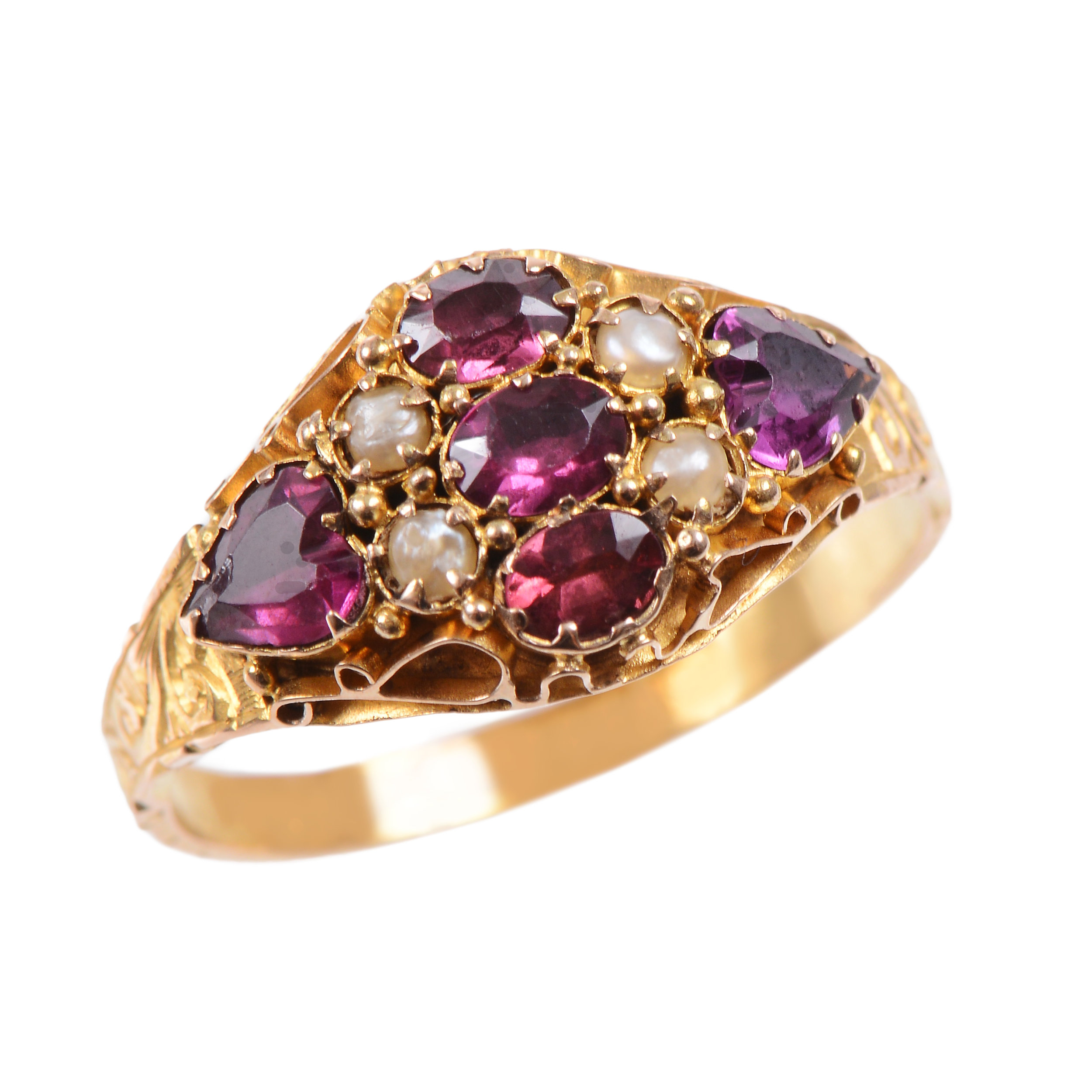 Turner and Tatler Victorian 15 KT Engraved Gold and Garnet and Pearl Ring, Available at Turner and Tatler