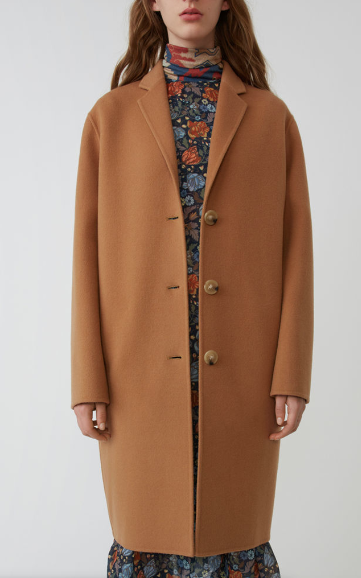 ACNE Masculine tailored long coat camel brown, AVAILABLE AT ACNE