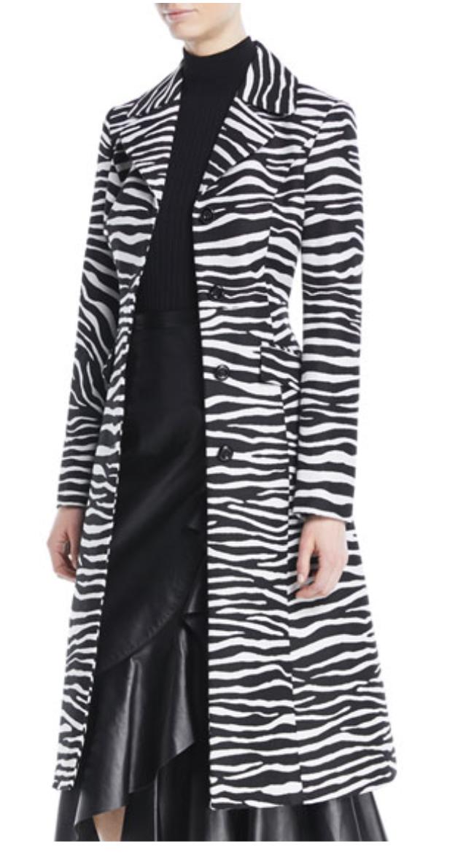 MICHAEL KORS Button-Front Zebra-Jacquard Wool Coat, AVAILABLE AT BERGDORFGOODMAN