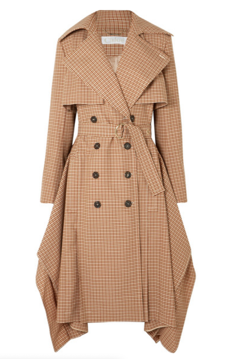 CHLOÉ Draped checked woven trench coat, AVAILABLE AT NET-A-PORTER