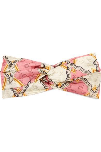 GUCCI Printed silk-twill headband, available at modesens