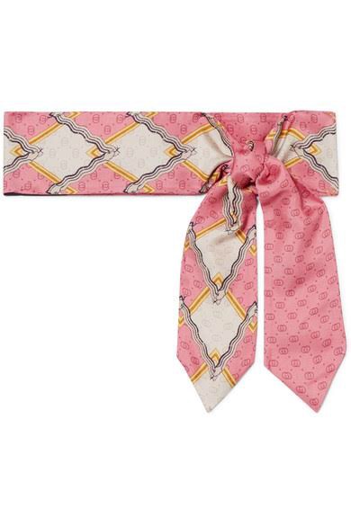 GUCCIIntarsia silk-twill scarf, available at modesens