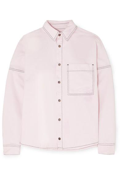 PALM ANGELS Oversized printed denim shirt, available at net-a-porter