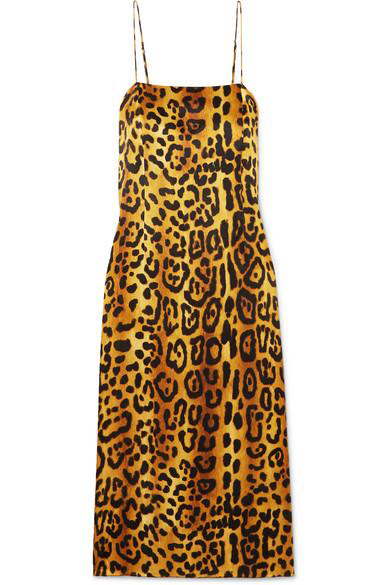 ADAM LIPPES Leopard print hammered silk-crepe dress, available at farfetch