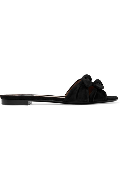 TABITHA SIMMONSCleo Bow-embellished suede slide, available at bergdorfgoodman