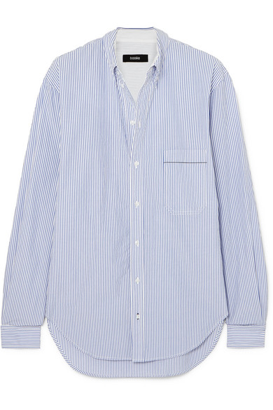 BASSIKE Striped Cotton-poplin Shirt, available at net-a-porter
