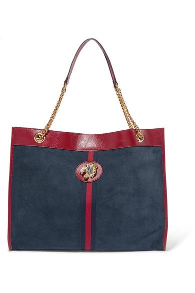 GUCCIRajah Large Patent Leather-Trimmed Suede Tote, available at gucci