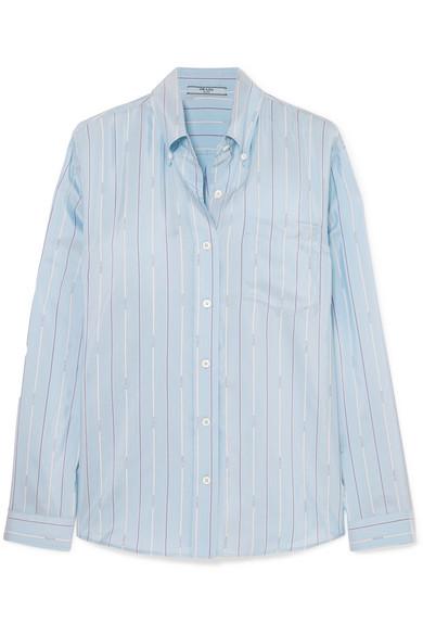 PRADA Striped Silk-Satin Shirt, available at modesens