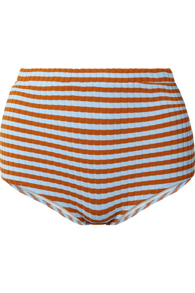 SOLID & STRIPED JAMIE STRIPED RIBBED BIKINI BRIEFS, available at net-a-porter