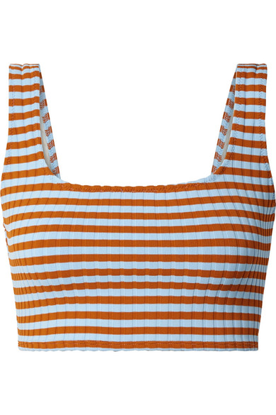 SOLID & STRIPED JAMIE STRIPED RIBBED BIKINI TOP, available at net-a-porter