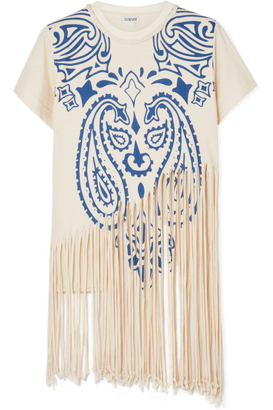 LOEWEFringed Printed Cotton and Silk-blended Jersey T-shirt, available at ModeSens