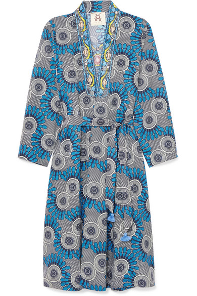 ELIZABETTA EMBELLISHED PRINTED COTTON WRAP DRESS, available at net-a-porter