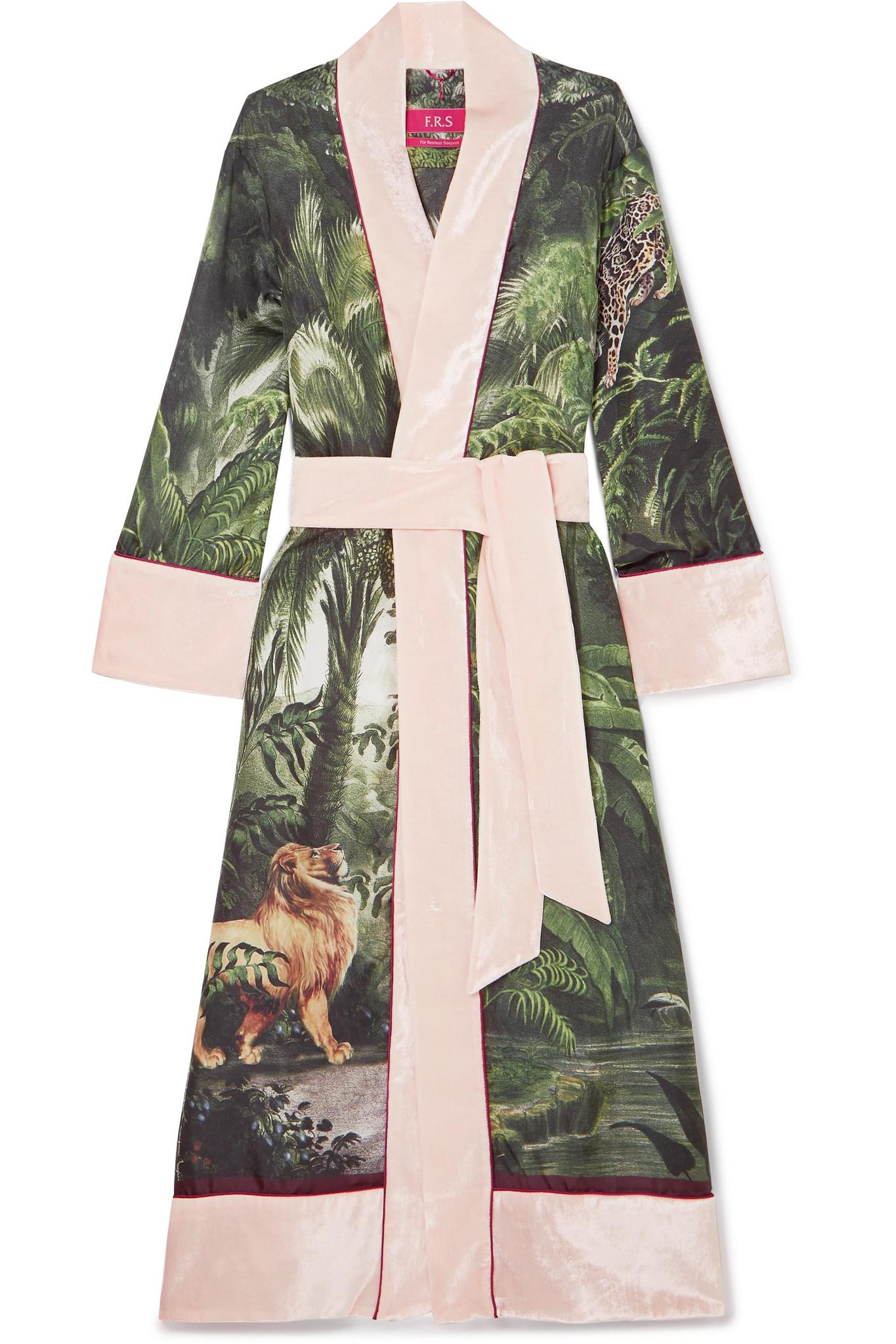 F.R.S For restless sleepers Nomos velvet-trimmed printed silk-twill robe, Available at net-a-porter