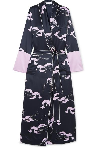 Olivia Von HalleCapability printed silk-satin robe, Available at Olivia von halle
