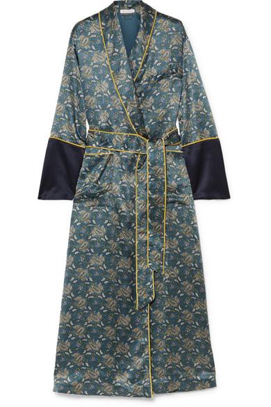 Olivia Von HalleBettina printed silk-satin robe, Available at Olivia von halle